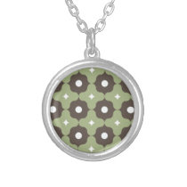 Green Flower Pattern Silver Plated Necklace