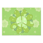 "Green Flower Peace Sign 5"" X 7"" Invitation Card"