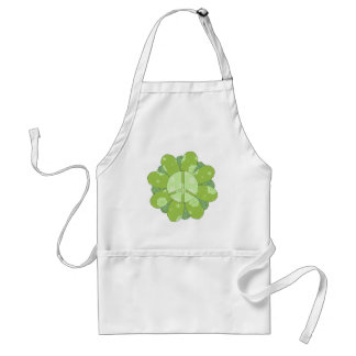Green Flower Peace Sign Adult Apron