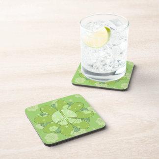 Green Flower Peace Sign Beverage Coaster