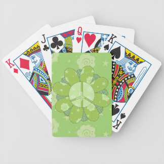 Green Flower Peace Sign Bicycle Playing Cards