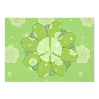 Green Flower Peace Sign Card