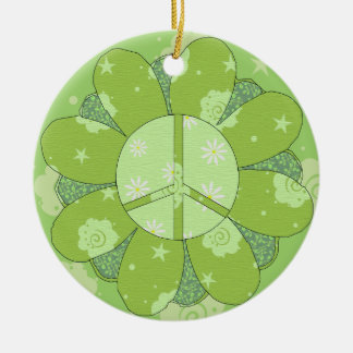 Green Flower Peace Sign Ceramic Ornament