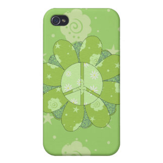 Green Flower Peace Sign iPhone 4/4S Case