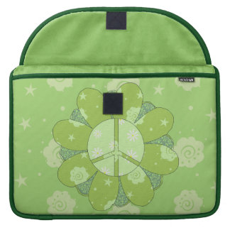 Green Flower Peace Sign MacBook Pro Sleeves