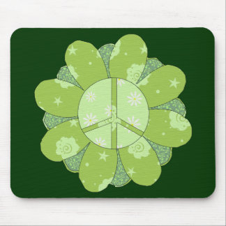 Green Flower Peace Sign Mouse Pad