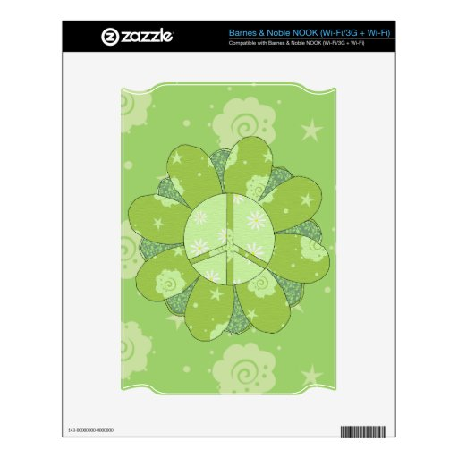 Green Flower Peace Sign Skin For NOOK