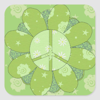 Green Flower Peace Sign Square Sticker