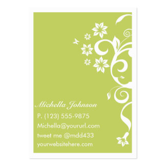 Green Flower Personal QR Large Business Card