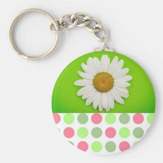 Green Flower Polka Dots Basic Round Button Keychain