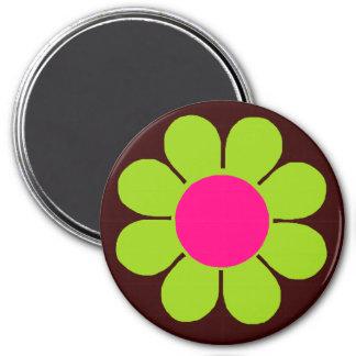 Green Flower Power 3 Inch Round Magnet