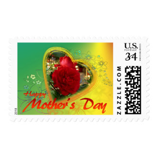 Green Flower Red Rose Heart Mother's Day Stamp