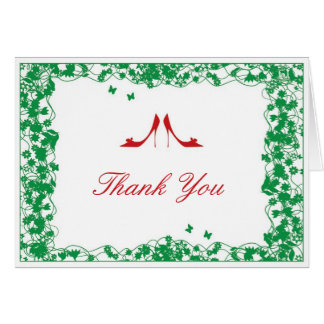 Green Flower Red Shoes Bridal Shower Thank You Car Stationery Note Card