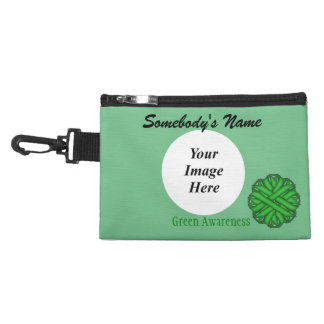 Green Flower Ribbon Accessory Bag