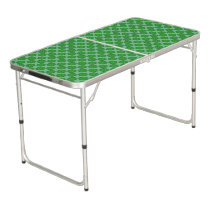 Green Flower Ribbon Beer Pong Table