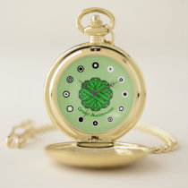 Green Flower Ribbon (Bf) by K Yoncich Pocket Watch