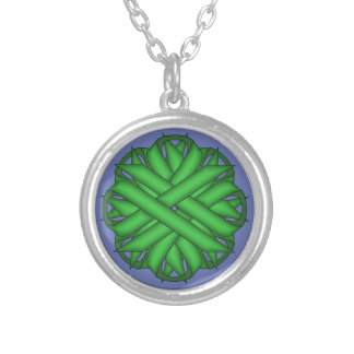Green Flower Ribbon by Kenneth Yoncich Round Pendant Necklace