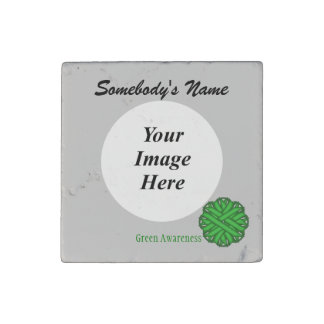 Green Flower Ribbon by Kenneth Yoncich Stone Magnet