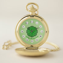 Green Flower Ribbon (CHN/JPf) by K Yoncich Pocket Watch