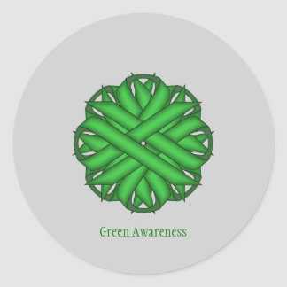 Green Flower Ribbon Classic Round Sticker