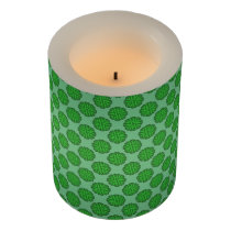 Green Flower Ribbon Flameless Candle