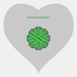 Green Flower Ribbon Heart Sticker