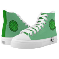 Green Flower Ribbon High-Top Sneakers