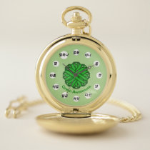 Green Flower Ribbon (Kf) by K Yoncich Pocket Watch