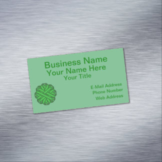 Green Flower Ribbon Magnetic Business Card