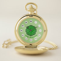 Green Flower Ribbon (Mf) by K Yoncich Pocket Watch