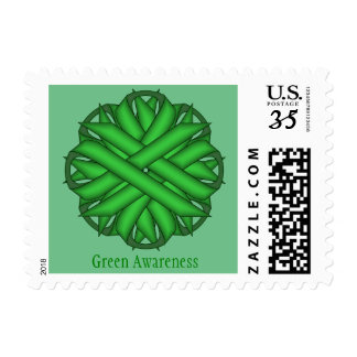 Green Flower Ribbon Postage
