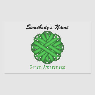 Green Flower Ribbon Rectangular Sticker