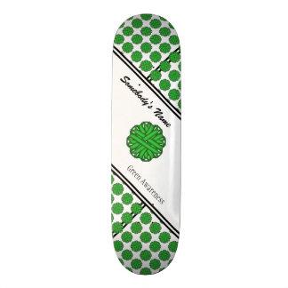 Green Flower Ribbon Skateboard Deck