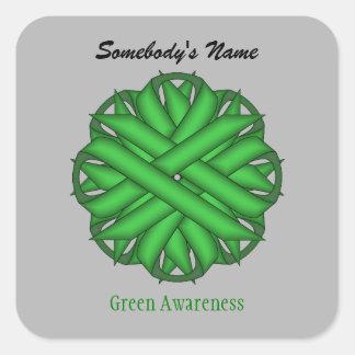 Green Flower Ribbon Square Sticker