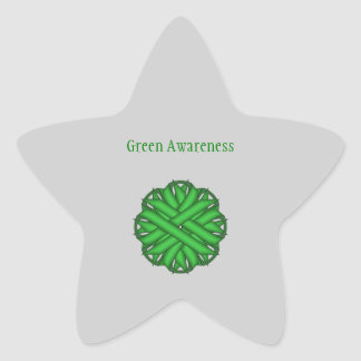 Green Flower Ribbon Star Sticker