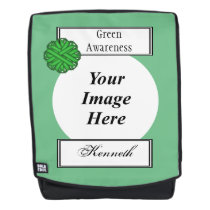 Green Flower Ribbon Template by Kenneth Yoncich Backpack