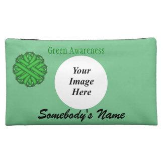 Green Flower Ribbon Template Cosmetic Bag