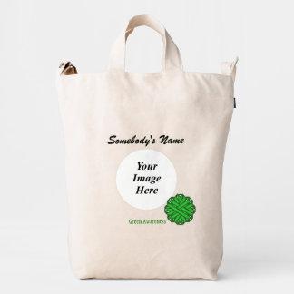 Green Flower Ribbon Template Duck Bag