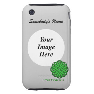 Green Flower Ribbon Template iPhone 3 Tough Case