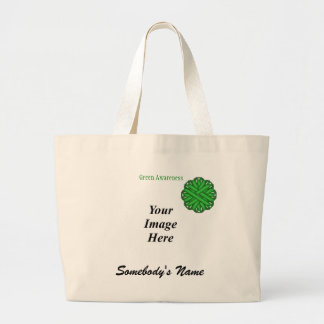 Green Flower Ribbon Template Large Tote Bag