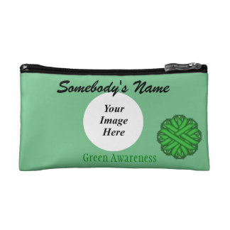 Green Flower Ribbon Template Makeup Bag