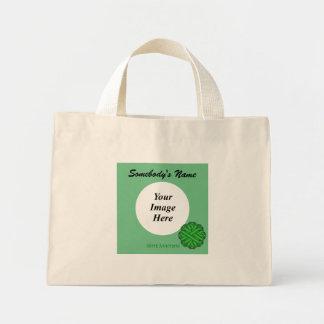 Green Flower Ribbon Template Mini Tote Bag