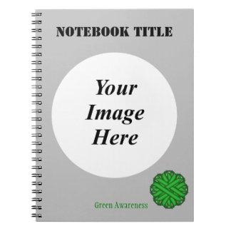 Green Flower Ribbon Template Notebook