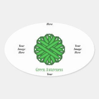 Green Flower Ribbon Template Oval Sticker