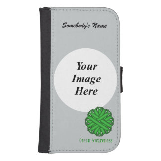 Green Flower Ribbon Template Phone Wallet Case