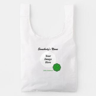 Green Flower Ribbon Template Reusable Bag