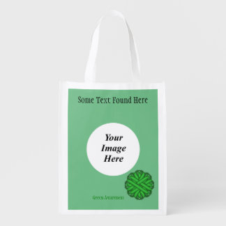 Green Flower Ribbon Template Reusable Grocery Bags