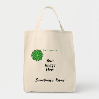 Green Flower Ribbon Template Tote Bag