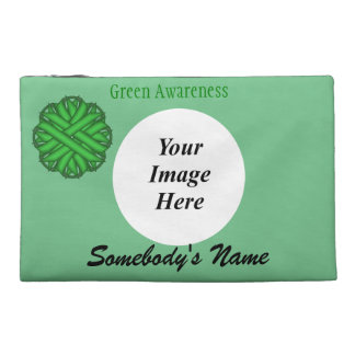 Green Flower Ribbon Template Travel Accessory Bags