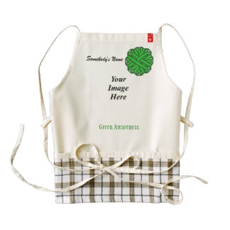 Green Flower Ribbon Template Zazzle HEART Apron